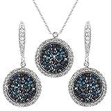 Prunkvolles Schmuckset vergoldete Halskette mit funkelden Anhänger und passenden kreisförmigen Ohrringen in schwarz und blau - Silber Swarovski Elements Kristalle - ideales Geschenk für Sie