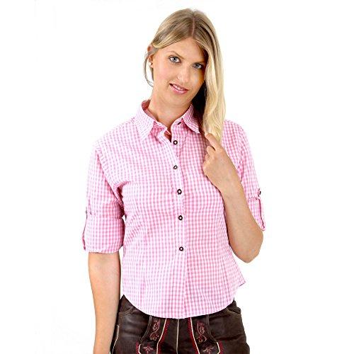 ALMBOCK Trachtenbluse Damen langarm | Karierte Bluse pink rosa kariert aus 100% Baumwolle | Festliche Blusen in Größe 34-46