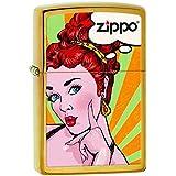 Zippo 60001872 Pop Art Red Head Briquet Laiton Poussière d'Or 3,5 x 1 x 5,5 cm