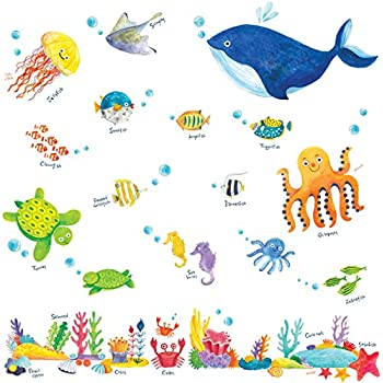 Decowall DW 1311 Under The Sea Kids Wall Stickers Wall Decals Peel And  Stick Removable Wall Stickers For Kids Nursery Bedroom Living Room Part 68