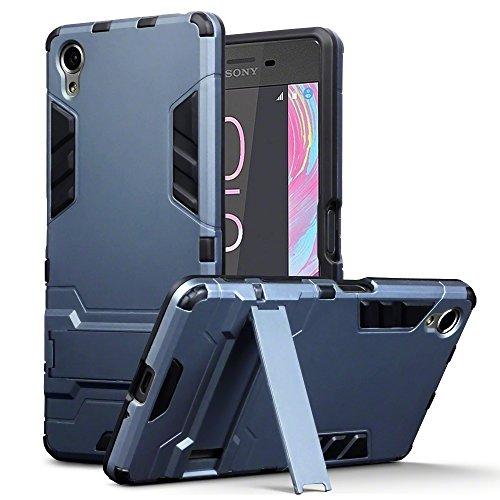Xperia X Tasche, Terrapin Silikon + Polycarbonat Hülle mit Standfunktion für Sony Xperia X Hülle Dunkelblau