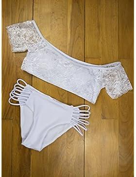 TIANLU Bikini Sexy conjuntos bañador de adelgazamiento trajes de baño moda moda cute bañador, Blanco Serie L