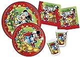 Ciao Y4477 - Kit Party Tavola Disney Mickey / Minnie Natale per 10 persone 10 piatti carta Ø23cm, 10 piatti carta Ø20cm, 10 bicchieri plastica 200ml, 20 tovaglioli carta 33x33cm)