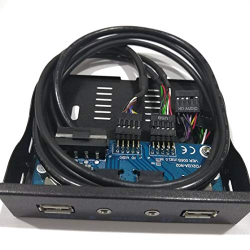 3.5'' 2-USB 2.0 Port HUB HD Audio Output Floppy Drive Expansion Front Panel Digital Mobile Rack Expanding for Your PC