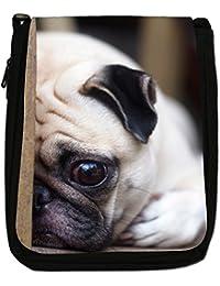 China Asian Love Pug Dogs Medium Black Canvas Shoulder Bag - Size Medium