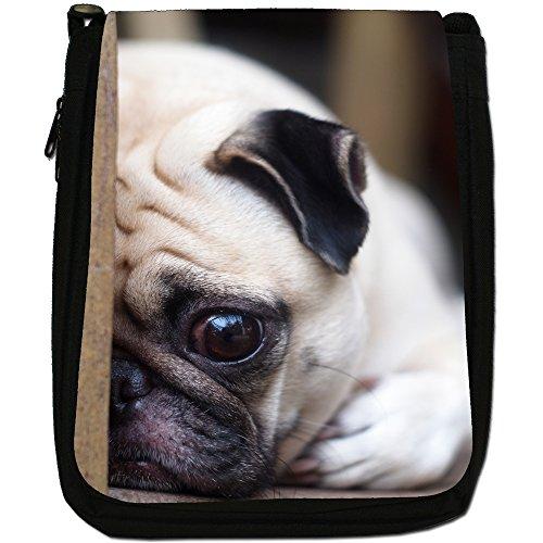 Asiatica carlino Dogs in porcellana Love, colore: nero, Borsa a spalla in tela da uomo, taglia media Nero (Pug Laying Down)
