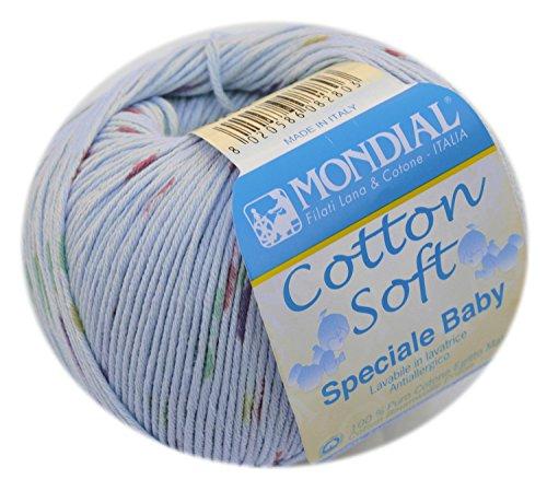Lane Mondial Cotton Soft Bio Wolle Farbe 296 - sky 100% organic cotton Biobaumwolle, Babywolle zum Stricken & Häkeln