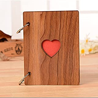 DIY Photo Album,Alisaber Creative Love Shape Album Homemade Gift Handmade Baby Album with Wooden Sculpture Print
