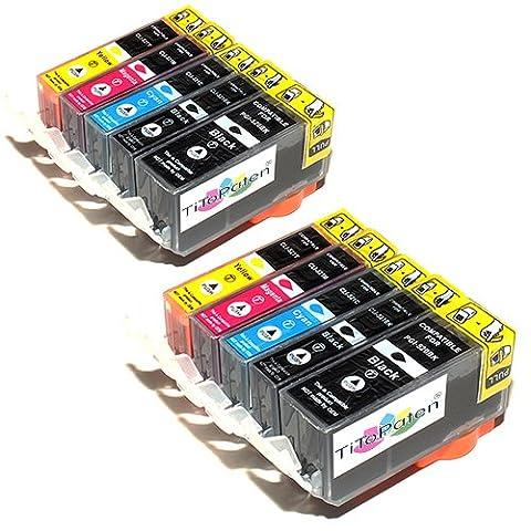 10x Canon Pixma MP550 Kompatible Druckerpatronen - Cyan / Gelb / Magenta / Schwarz- PATRONEN MIT (24 Kompatible Tintenpatrone Schwarz)