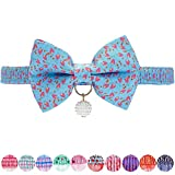 Blueberry Pet Pack of 1 Blue Tulip Floral Breakaway Bowtie Cat Collar Choker Necklace with Handmade Bow Tie and Pearl Charm, Safety Elastic Stretch Collar for Cats, Neck 21.5cm-30cm