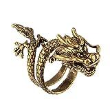 BEWISH Drache Finger Ring Gothic Punk Wickeln Golden Chinesisch Punk Einstellbar Unisex Fingerring Unisex Herren Damen