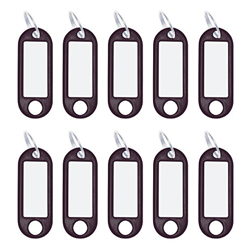 Wedo 262101801 Schlüsselanhänger Kunststoff (mit Ring, auswechselbare Etiketten) 10 Stück, schwarz