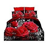 Specifica: Tessuto: poliestere Dimensioni del copripiumone: 200,7 x 228,6 cm Lenzuolo Dimensione: 228,6 x 228,6 cm Federa: 48,3 x 76,2 cm Modello: 3d Red rose stampa Processo di tessitura: Plain, levigatura Biancheria da letto processo: quilting Stam...