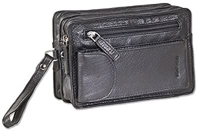 Rimbaldi® - Handgelenktasche für Männer aus feinstem, hochwertigem Rind-Nappaleder in Schwarz