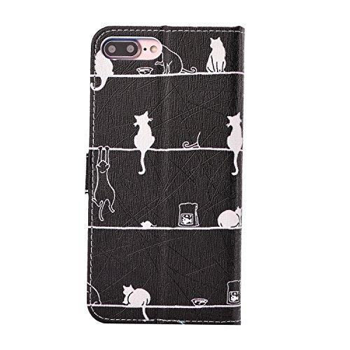Etsue Handytasche für iPhone 7 Plus (5.5 Zoll) 2016 schwarz, Brieftasche Hülle für iPhone 7 Plus (5.5 Zoll) 2016 [Sonnenblume] Muster Lederhülle Handyhülle Einzigartig Flip Hülle Leder Schutzhülle Vin Spielen Katze