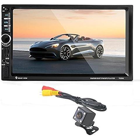 Lacaca– Reproductor estéreo de MP5 de coche con pantalla táctil HD de 7 pulgadas, DIN doble que admite navegación GPS, llamada manos libres Bluetooth, salida de alimentación, mando a distancia, cámara de visión trasera y micrófono (USB/TF/AUX/FM)