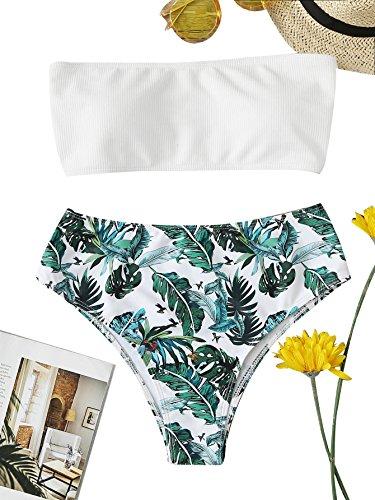 SOLY HUX Bikini Palabra de Honor Con Estampado Tropical+2 PCS Traje de Baño 2018 Verano