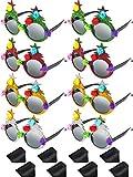 Blulu 8 Paia Albero di Natale di novità Occhiali Tema di Natale, Occhiali di Natale in Maschera, Occhiali Natalizi per Feste 4 Colori