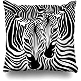 GFGKKGJFF0902 Housse de Coussin en Fourrure Exotique Motif zèbre Tropical Africain Noir/Blanc 18 x 18 cm