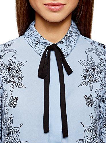 oodji Collection Damen Lässige Bluse mit Bindebändern Blau (7029F)