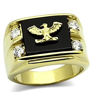 ISADY - Pascual Gold - Men's Ring - Cubic Zirconia - Email Black - Size R 1/2