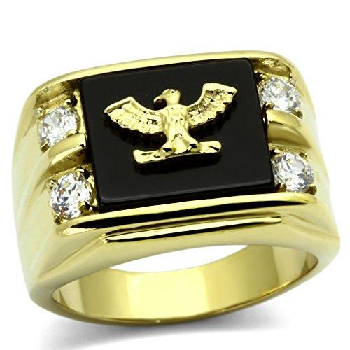ISADY - Pascual - Herren-Ring - 585er 14K Gold platiert - Adler - Zirkonium und Email schwarz - T 60 (19.1) - Herren-marine-ring