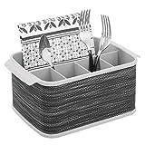 mDesign Portaposate da tavolo - Contenitore posate decorativo per cucina, sala da pranzo, giardino e picnic - Porta posate plastica con 5 scomparti - grigio