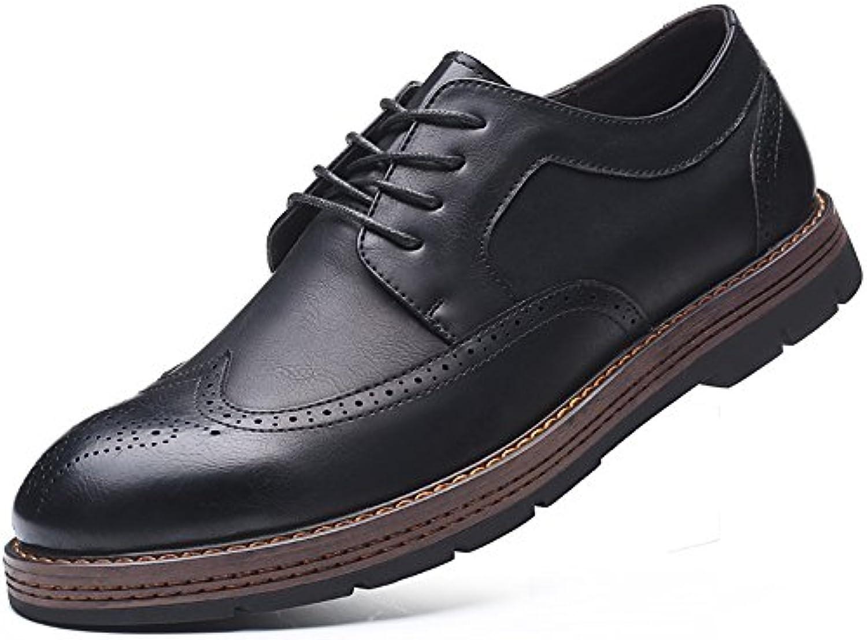 fgmjgk Los Hombres de Cuero Zapatos, Ingles Tallado Zapatos de Hombres Casual Zapatos de Negocios,Black,Treinta...