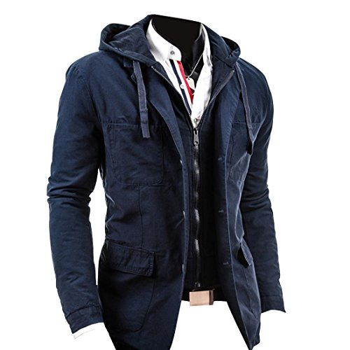 Jeansian Hommes Manteau Classic Style Hoodie Sweater Fashion Jacket 9310 Navy