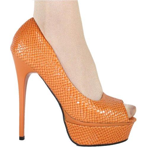 Damen High Heel Peeptoe Plateau Pumps 10309 Orange