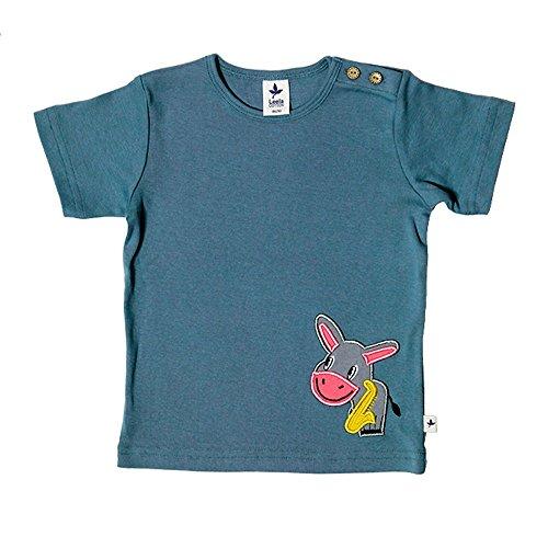 Leela Cotton Baby/Kinder T-Shirt Esel Bio-Baumwolle, Taubenblau mit Esel, Gr. 74/80