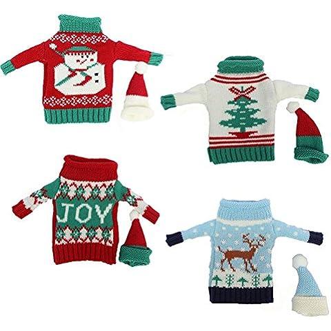 Natale Babbo Natale Bottiglia Di Vino, Borsa per tavolo decorazioni Natale cena Decor (Confezione da 4)