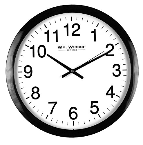 Large Stylish Black & White Bold Classic Quartz Wall Clock Non Ticking Silent Sweeping Seconds 40cm by Hometime Silent Wall Clocks