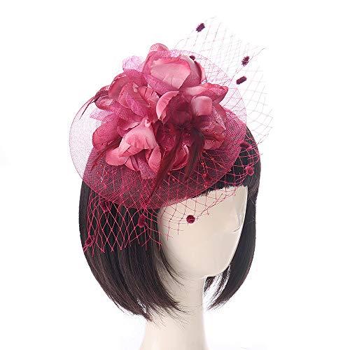 VRTUR Damen Hochzeit Party Hut Haar Clip Schleier Fascinator Penny Mütze Bänder Und Federn Mütze Black ()