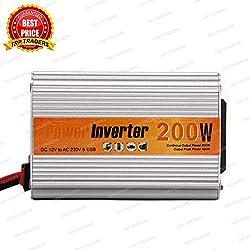 TRP TRADERS 200 Watt Car Auto Inverter/ Converter 12V DC to 220V AC + USB