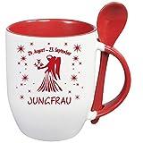 Tasse Sternzeichen * Jungfrau * Roter Löffelbecher mit Keramiklöffel Geschenke Tasse in Top Qualität. Alle Sternzeichen verfügbar.