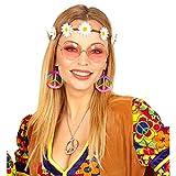 Set disfraz hippie con banda del pelo, pendientes y gafas Complemento cabello flower power outfit años 60 Accesorio disfraz sesentero Accesorio moda mujer