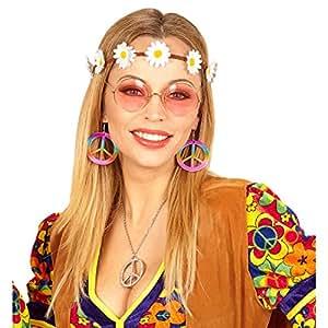 hippie kost m set mit haarband ohrringe und brille flower power haarschmuck 60er jahre outfit. Black Bedroom Furniture Sets. Home Design Ideas