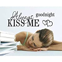 COOLCASE ALWAYS KISS ME GOODNIGHT Quote Black Words Room Art Mural Wall Sticker Decal