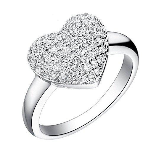 Uloveido schönes Herz Halo Ringe Versprechen mit klaren Brillant CZ Stones, beste Geschenke für ihr Mädchen J070 Größe 59 (18.8) (Halo Diamant Versprechen Ringe)