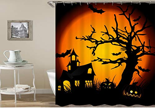 n Kürbis Orange Mond Fledermaus auf mysteriösen schwarzen Hintergrund Wasserdicht und Umweltschutz HD abnehmbare Duschvorhang ()