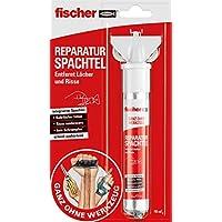 Fischer 545948 Reparatur Spachtel, 1x Reperaturspachtel-Tube, 70ml, Bohrlöcher füllen, Risse ausbessern, schnell aushärtend, Rot, Weiß