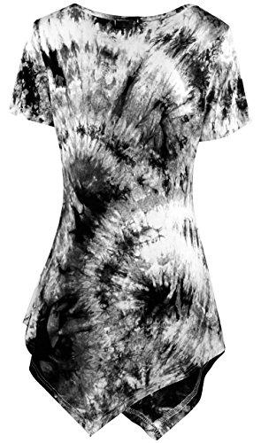 KorMei Damen Rundkragen Kurzarm Asymmetrisch T-Shirt Sommer Tunika Oberteile Schwarz