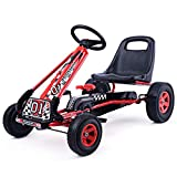 COSTWAY Kids Go Kart - Ride on Car with Adjustable Seat, Controllable Handbrake