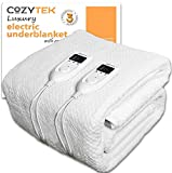 Super King Electric Blanket Dual Control SuperKing Bed Full Size 203 x 182cm Fully Fitted Heated Underblanket Elasticated Skirt With Timer, Comfort Settings Machine Washable 2 Controllers