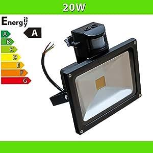 ledvero 1x projecteur led 20w spot lampe avec d tecteur de mouvement noir jardin. Black Bedroom Furniture Sets. Home Design Ideas