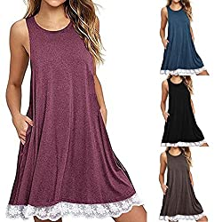 Women's Vest Tops,Wawer Lace Long Sleeveless Vest,Women Sexy O Neck Solid Vest Blouse Above Knee Dress Loose Party Dress for Sport/Party/Daily/Beach by Wawer