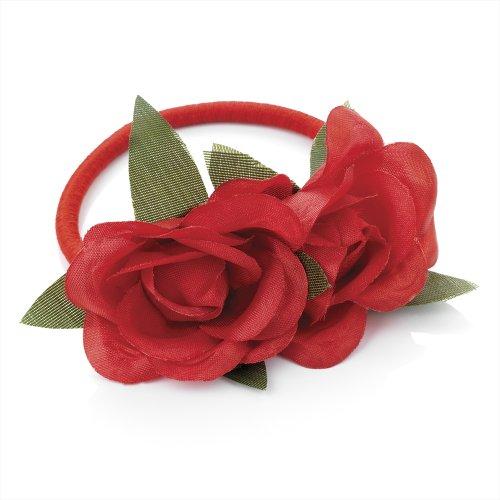 Bling online-elastici per capelli con fiore rosa.