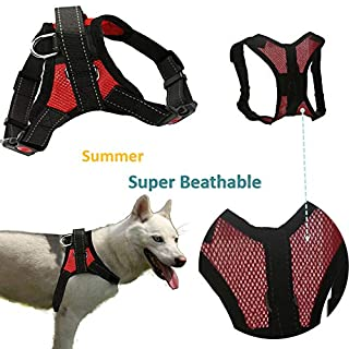 Briller No Pull Ventilate Dog Harness Explosion-proof Vest With Adjustable clip Super breathable Summer Pet Harness Vest for Large/Medium Training/Police dogs and 3M Safety Reflective Stripes
