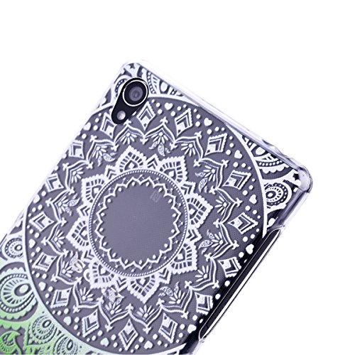 SMARTLEGEND Custodia in Silicone per Sony Xperia Z3, Gomma TPU Copertura Protettiva Soft Case, Bumper Cover Morbida Flessibile Caso Ultra Sottile Coprire Anti-graffio Cover Antiurto con Girasoli Patte Erba Verde